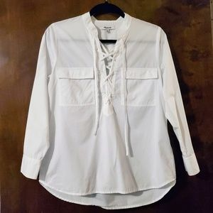 Madewell | White Terrace Lace Up Shirt XS